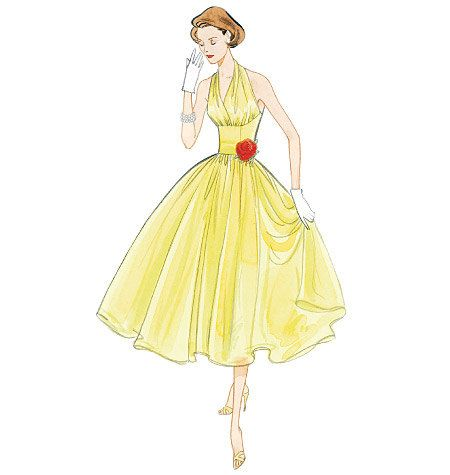 Vintage dress pattern, Retro Dress Pattern, wedding dress pattern, V2962, 1950's Evening Dress Pattern, tea length Dress Pattern, bust 29-32