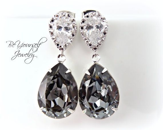 202a4992a Dark Grey Bridal Earrings Charcoal Teardrop Bride Earring Swarovski Crystal  Silver Night Wedding Jewelry Sterling Gray Black Bridesmaid Gift # ...