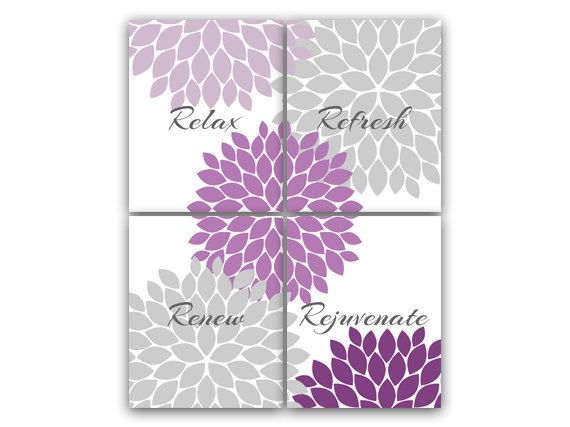 Purple Amp Gray Bathroom Decor Modern Bathroom Art