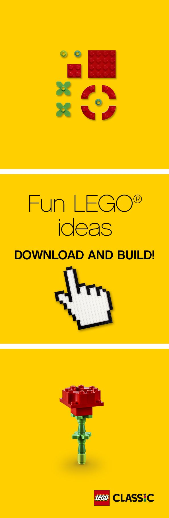 For a fun and creative way to show someone big or small how much you care, take a look at our building instructions and create your own LEGO roses! Your family will love this festive gift or activity.
