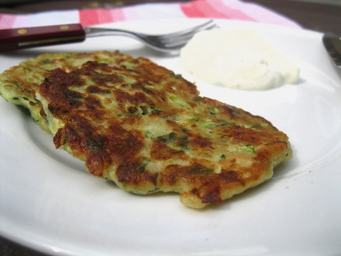 Courgette fritters with tzatziki