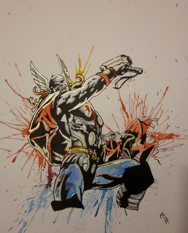 Avengers Watercolor: Thor,marvel,avengers,artwork,watercolor,painting,drawing