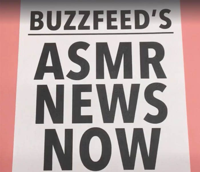 "BuzzFeed's ASMR Facebook Live experiment // The video, the fourth of its kind that BuzzFeed has broadcast on Facebook Live since last week, is at least theoretically aimed at viewers who experience ASMR — an autonomous sensory meridian response. If you've been around the Internet long enough, you know that's the alleged ""brain orgasm"" triggered by sounds such as scratching, tapping, and, yes, whispering."