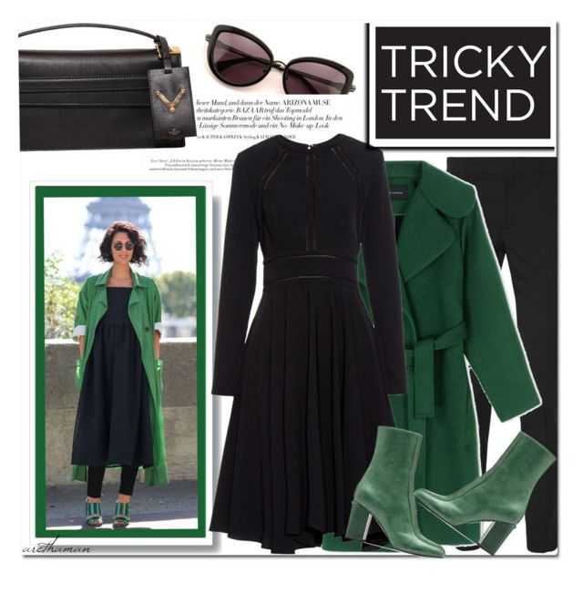"""""""Green + Black"""" by arethaman ❤ liked on Polyvore featuring Wildfox, Valentino, Gucci, Cédric Charlier, La Mania, Marni, TrickyTrend and dressoverpants"""