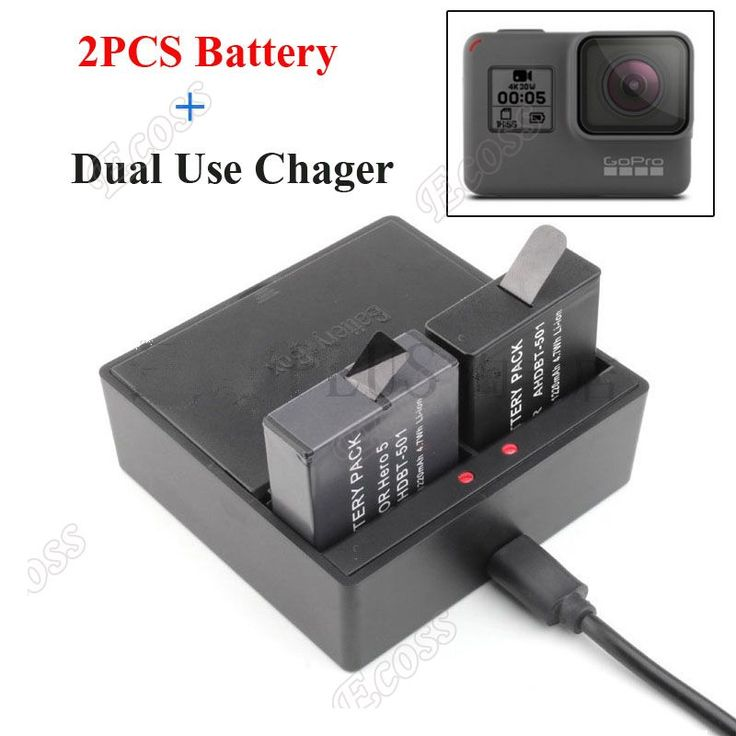 2PCS GoPro Battey GoPro hero 5 batteries + Dual Use Charger Hero 5 Multi-Purpose Battery Charger For GoPro 5 Camera Accessoress