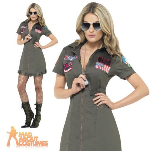 top gun deluxe #female costume #ladies #womens aviator pilot fancy dress uk 8-22,  View more on the LINK: http://www.zeppy.io/product/gb/2/161412878178/
