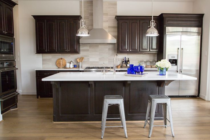 kitchen remodel; Island; stool; lighting; cabinetry; refrigerator | Interior Designer: Carla Aston / Photographer: Tori Aston