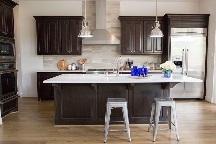 kitchen remodel; Island; stool; lighting; cabinetry; refrigerator | Interior Designer: Carla Aston / Photographer: Tori Aston