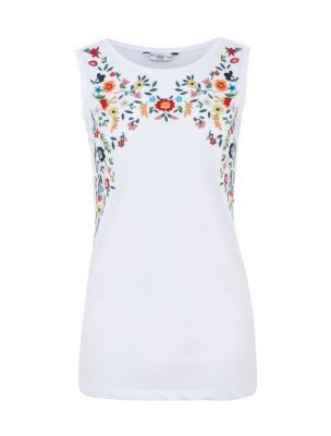 White Floral Embroidered Tank Top