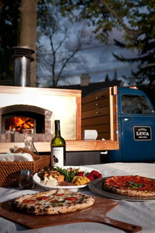 For something a little fancier than a food truck, consider bringing a mobile pizza oven to your meeting or event. One company that has the o... Photo: Courtesy of Luca Pizza Truck