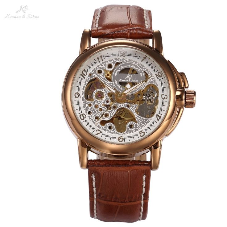 36.99$  Watch here - http://alig9e.shopchina.info/1/go.php?t=741239939 - Luxury KS Golden Stainless Steel Case Skeleton Dial Men Automatic Mechanical Brown Leather Strap Wrist Men's Dress Watch / KS037  #buychinaproducts
