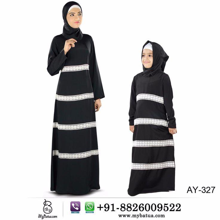 Buy now---> Whatsapp: +91-8826009522 (#worldwide) #Fara #Black #Crepe #Women and #Kids #Abaya   #kidsabaya #abayadress #jilbab #hijab #muslimdress #kidsdress #abayashop #casualabaya #blackabaya #burkha #burqa #mybatua
