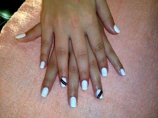 White manicure/shellac with black strass