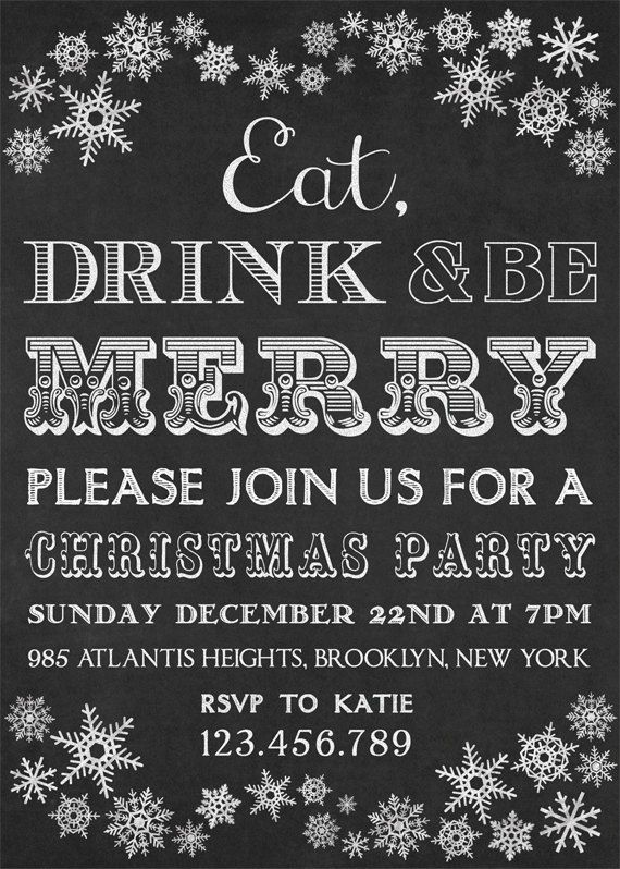Christmas Party Ideas Christchurch Part - 48: Printable Christmas Invitation Chalkboard By Designbydetail · Xmas Party  IdeasChristmas ...