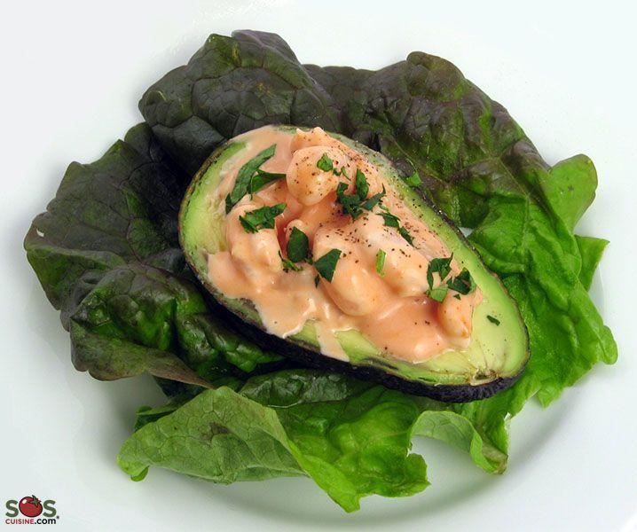 SOSCuisine: #Avocado with #Shrimp Avocado and shrimp in a mayonnaise based dressing.