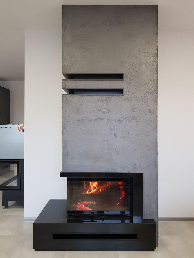 Kominek Nowoczesny Nr 26 Wklad Kratki Pl Mbo L Bs Gilotyna Granit Absolut Black Modern Fireplace Fireplace Modern Design Fireplace Design