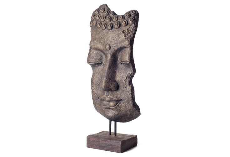 "Find Your Zen 28"" Buddha Mask Relic on Stand"