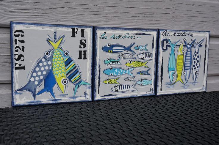 Tableau triptyque sardines peinture colorée moderne
