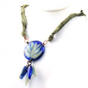 Vetrofuso by Daniela Poletti necklace blue glass fusing green silk