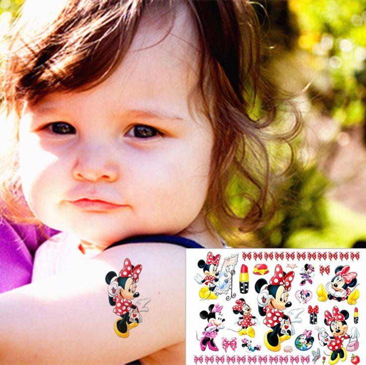 Minie Girl Child Love Temporary Body Art Toys, Flash Tattoo Sticker 17*10cm, Waterproof Henna Tatoo Birthday Party Gift
