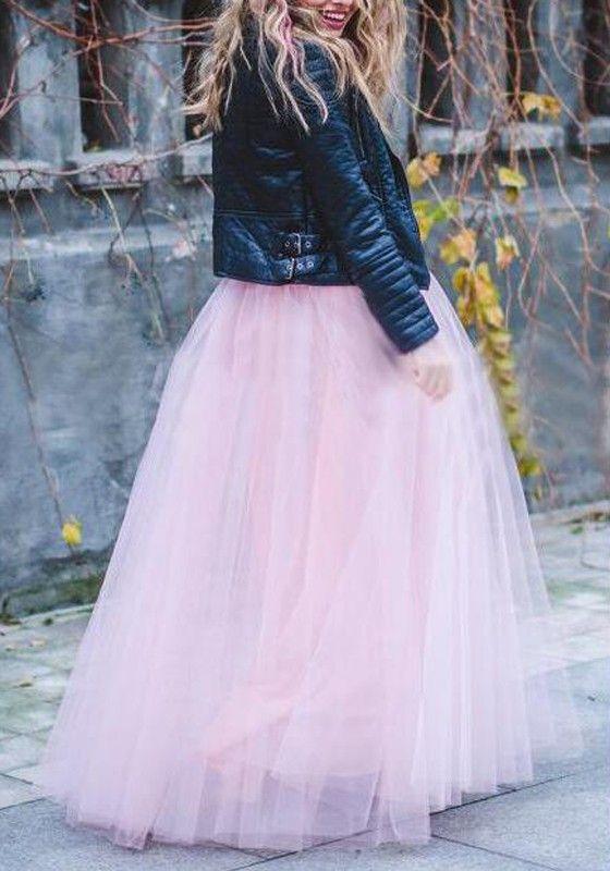 Rosa Einfarbige drapierte Puffy Tüll Hohe Taille Rock Mode Tutu Maxirock tüllrock damen lange