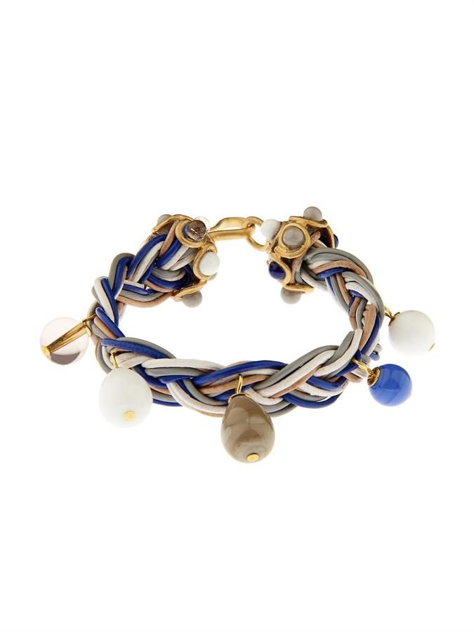 GRIPOIX Leather and glass braided bracelet