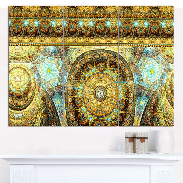 """Designart 'Brown Extraterrestrial Life Cells' Floral Wall Art on Canvas - 36""""x28"""" 3 Panels"""