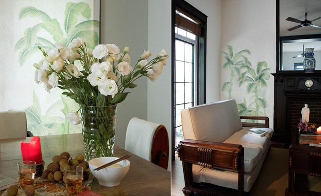 Modern chinoiserie 'Tropical' design from Misha wallpaper, hand painted on White dyed silk.