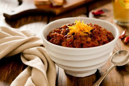 My absolute favorite chili recipe! Thick, meaty and loaded with veggies! | via @SparkPeople #chili #recipe #slowcooker