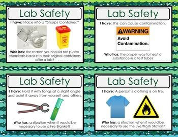 Science Lab Safety Activity - I Have, Who Has?