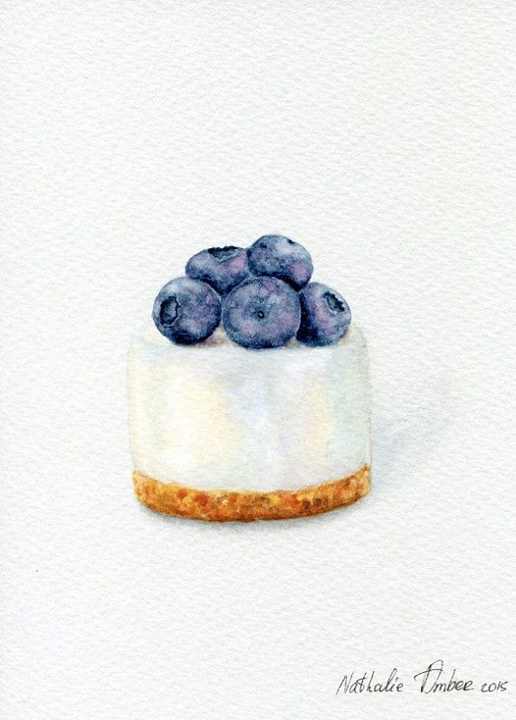Blueberry Cheesecake  ORIGINAL Painting Dessert por ForestArtStudio