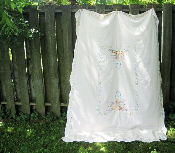 Vintage Large Embroidered Fl Creamy By Littlebearandbunny 22 00