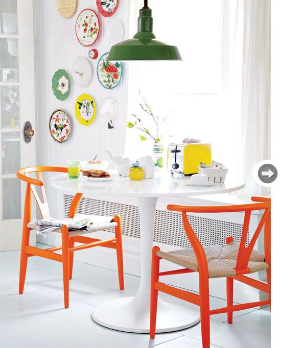 Orange chair legs