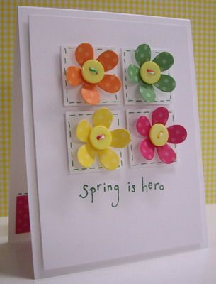 SPARK. another version of Stampin with Loll spring Flowers. retro flower punch, button centers. DSP. layers.