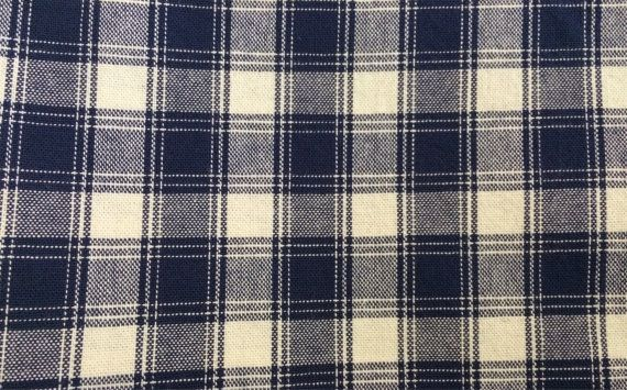 Cotton Fabric / Cotton Plaid Fabric / Plaid Fabric / Blue
