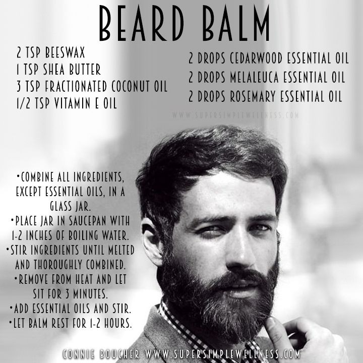 #BeardBalm: 2 tsp #beeswax, 1 tsp #sheabutter, 3 tsp #FractionatedCoconutOil, 1/2 tsp #vitaminE oil, 2 drops #Cedarwood #essentialoil, 2 drops #Melaleuca essential oil, 2 drops #Rosemary essential oil. Combine all ingredients, except #essentialoils, in a glass jar. Place jar in saucepan with 1-2 inches of boiling water. Stir ingredients until melted and thoroughly combined. Remove from heat and let sit for 3 minutes. Add essential oils and stir. Let #balm rest for 1-2 hours. #homemade #DIY…