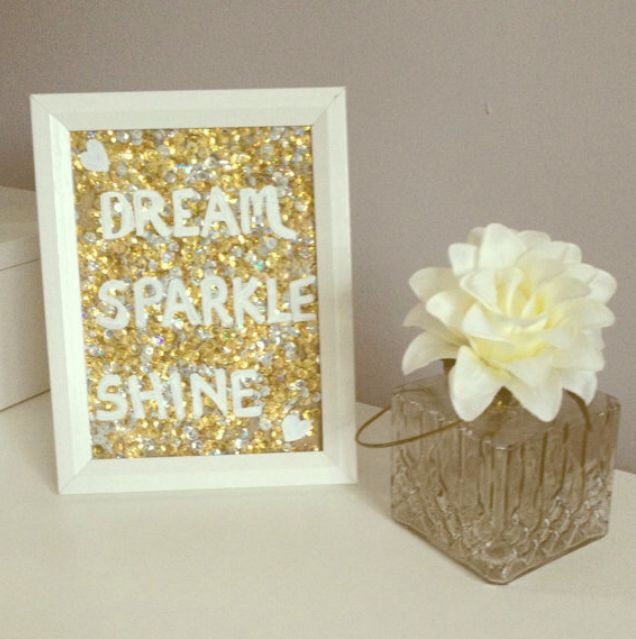 Inspirational quote photo frame. Gold sequin art. Gift for her. Present for loved one