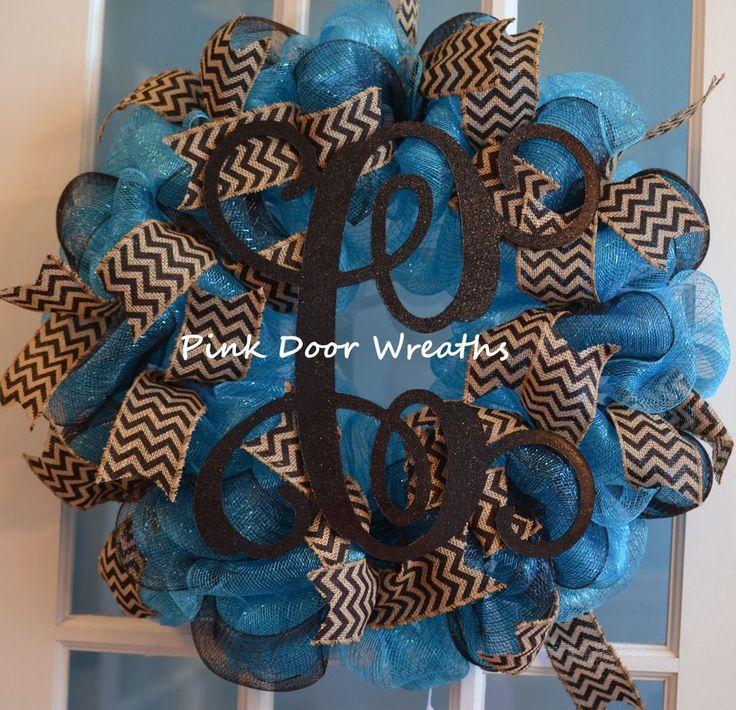 MADE TO ORDER Wreath Door SCROLL MONOGRAM teal black burlap chevron mesh  #PinkDoorWreathshandmade