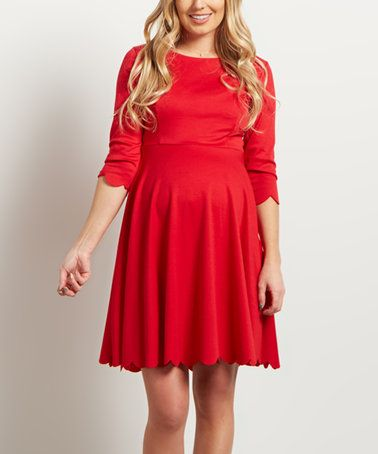 Love this PinkBlush Red Scallop-Hem A-Line Maternity Dress on #zulily! #zulilyfinds