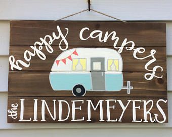 Happy Campers Personalized Wood Sign