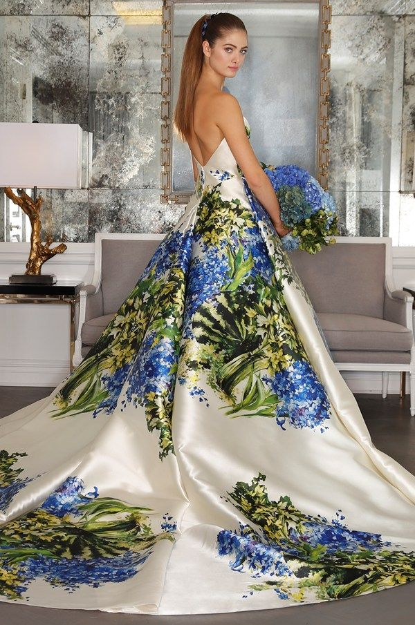 Big, bold and floral wedding dresses at New York Bridal Week - Romana Keveza