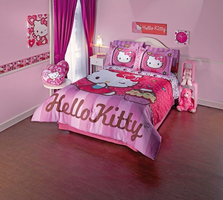 Dazzling Hello Kitty Inspired Kids Room Designs : Fabulous Light Pink Hello Kitty Kids Room Design with Round White Table and Hello Kitty Co...