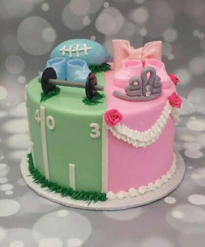 Sports and princess gender reveal cake Www.ccsweetsensations.com