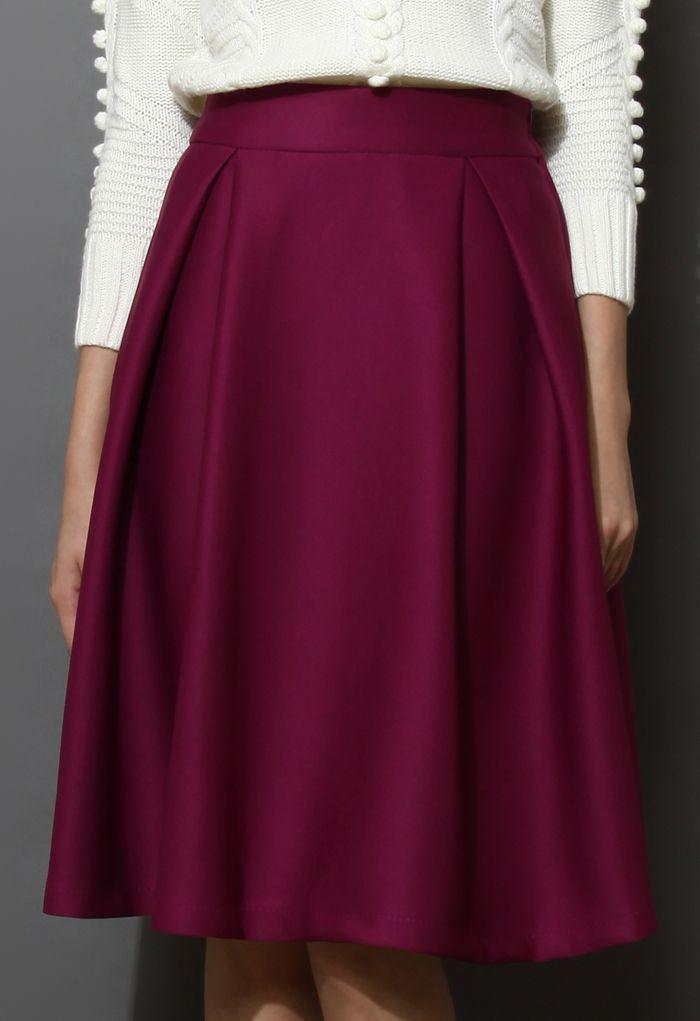 Full A-line Midi Skirt in Violet