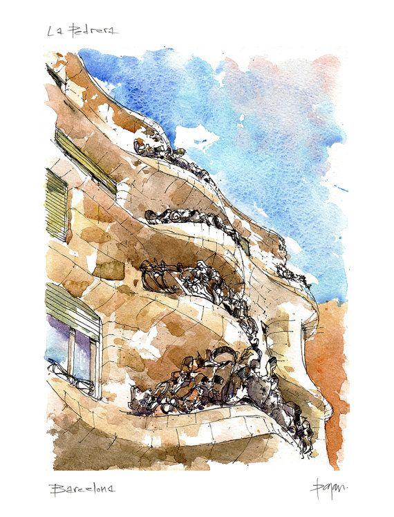 La Pedrera PRINT / Antoni Gaudí. Eixample por drawingBarcelona