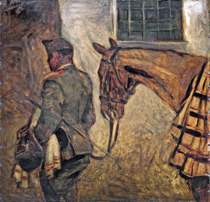 Aukció: 2016. december 14.: Vaszary János; Lovat vezető huszár, 1918; olaj, karton