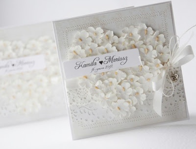 Beautiful all white card.. Very pretty engagement/wedding cards