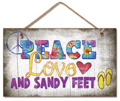 PEACE, love and sandy feet