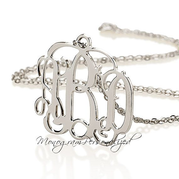 Monogram Necklace - 1.5 inch Initial Necklace silver monogram necklace - personalized jewelry