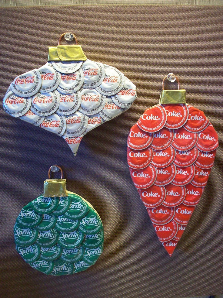 Coca Cola Ornaments. Large Decorative Bottle Cap pieces for a one of a kind decorations.. $18.00, via Etsy.